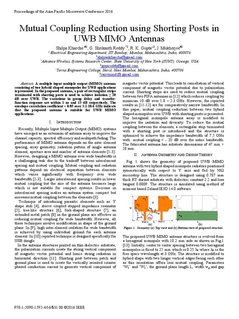 Mutual Coupling Reduction using Shorting Posts in pdf