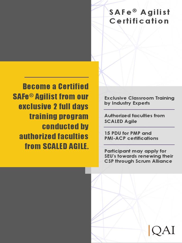 Safe Agilist Course Catalogue Agile Software Development