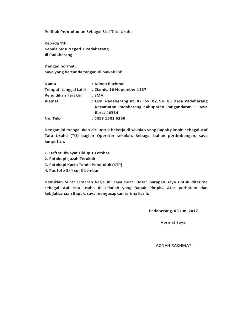 Contoh Surat Lamaran Kerja Ke Sekolah Mts Id Lif Co Id