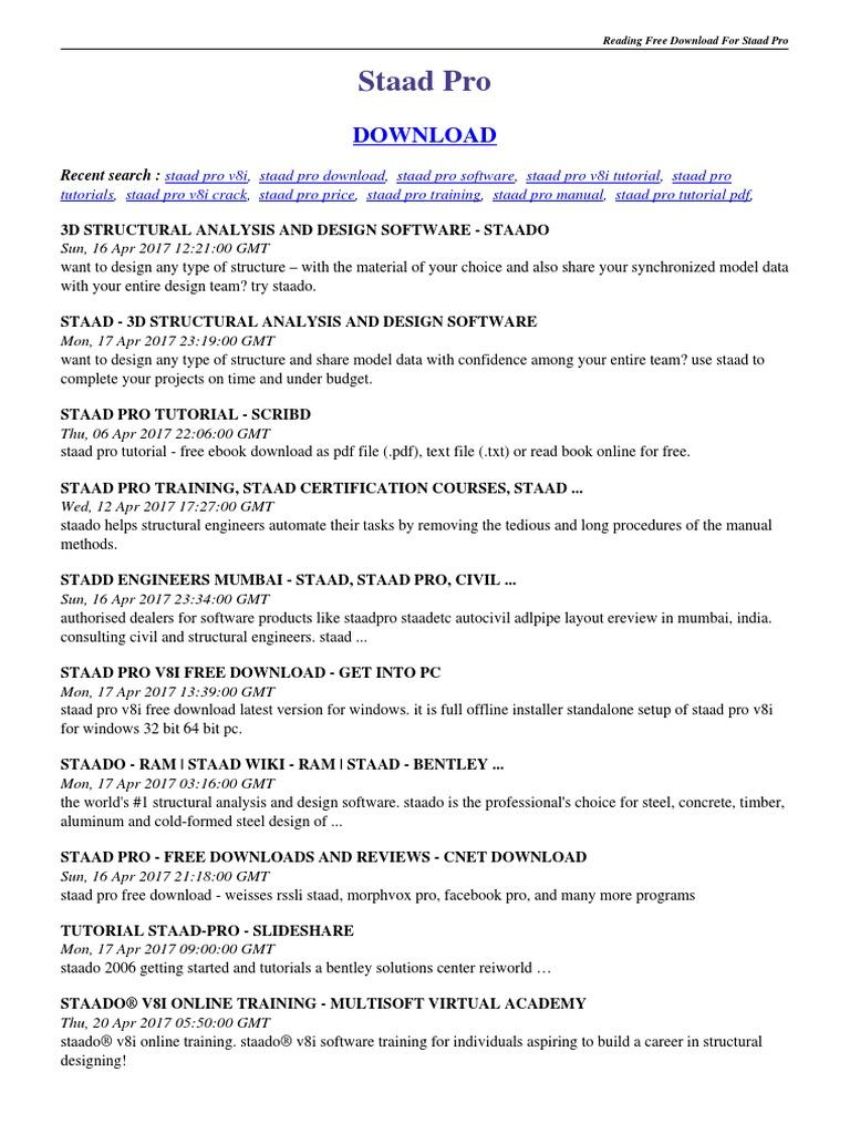 Staad Pro User Guide Digital Distribution Microsoft Windows