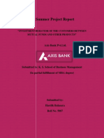 Customer behavior regarding Mutual Fund at Axis Bank