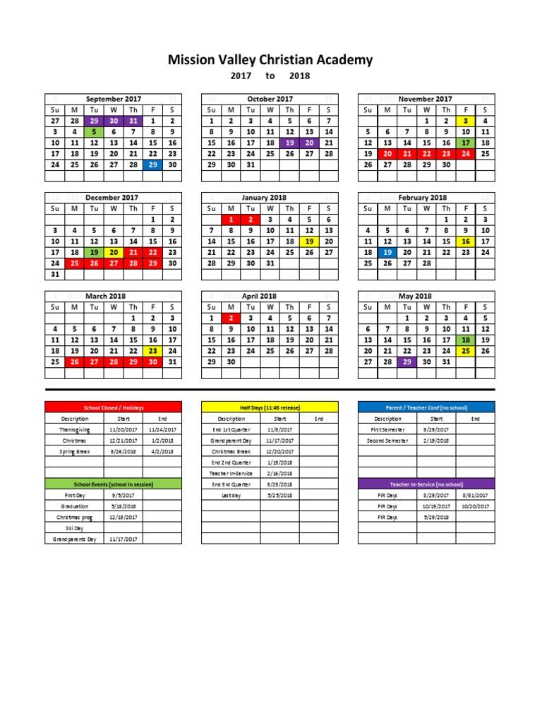 Cfbisd Calendar.2017 2018 School Calendar Academic Term Holidays