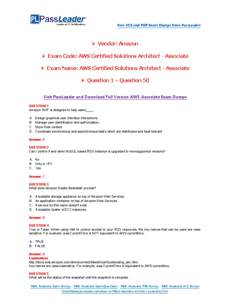 Aws certified solutions architect associate exam dumps with pdf aws certified solutions architect associate exam dumps with pdf and vce download 1 50 oracle database transport layer security 1betcityfo Images