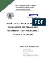 TERUEL - Diseño y Cálculo de Un Reductor de Velocidad Con Relación de Transmisión 16,01 y Par Máx...
