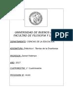 Programa Didactica I 1 2017 Prof. Feldman