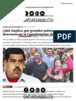 ¿Qué Implica Que Grandes Países Desconozcan La Constituyente de Maduro