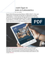 Perú Ocupa Cuarto Lugar en Emprendimiento en Latinoamérica