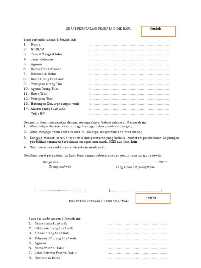 Contoh Surat Pernyataan Peserta Didik Baru Dan Orang Tua ...