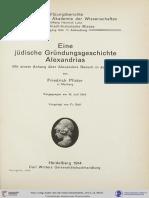 Pfister, Eine Jüdische Gründungsgeschichte Alexandrias Mit Einem Anhang Über Alexanders Besuch in Jerusalem (1914)