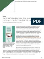 """""""Património Textual e Humanidades Digitais – Da Antiga à Nova Filologia"""" _ Humanidades Digitais"""