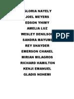Nombres de Alumnos