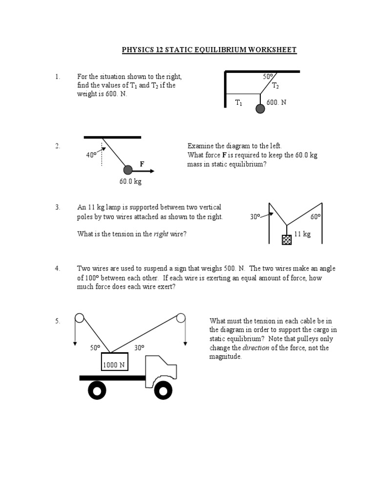 worksheet Physics Torque Worksheet static equib worksheet lever torque
