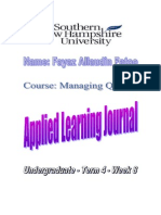 Fayaz - Applied Learning Journal (Managing Quality)