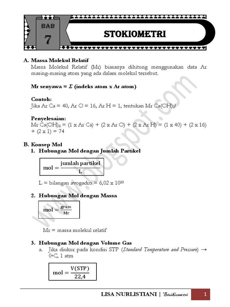 Bab 7 Stoikiometri