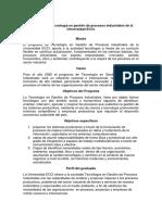 Mision Vision Objetivos y Perfil Del Egresado de TGPI