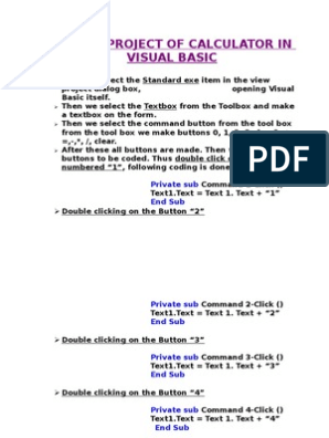 Make a Project of Calculator in Visual Basic | Visual Basic  Net
