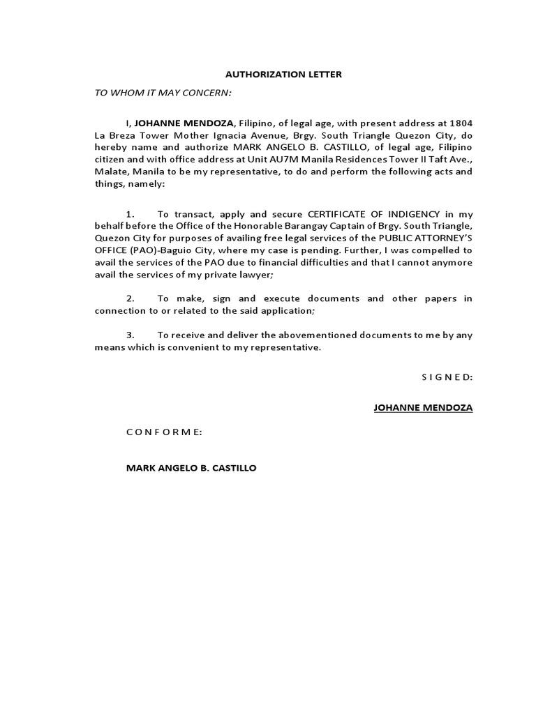Authorization Letter Mendoza