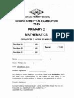 P2 Maths SA2 2015 Nanyang Exam Papers
