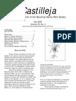 Dec 2003 Castilleja Newsletter, Wyoming Native Plant Society