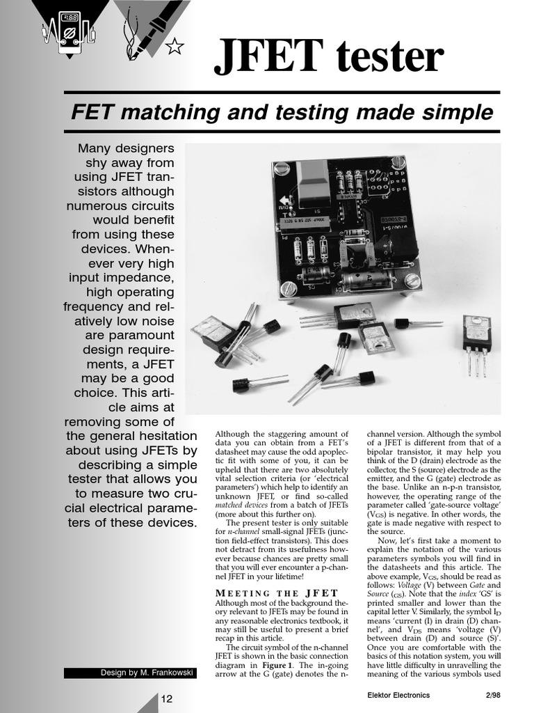 JFET Tester | Field Effect Transistor | Transistor
