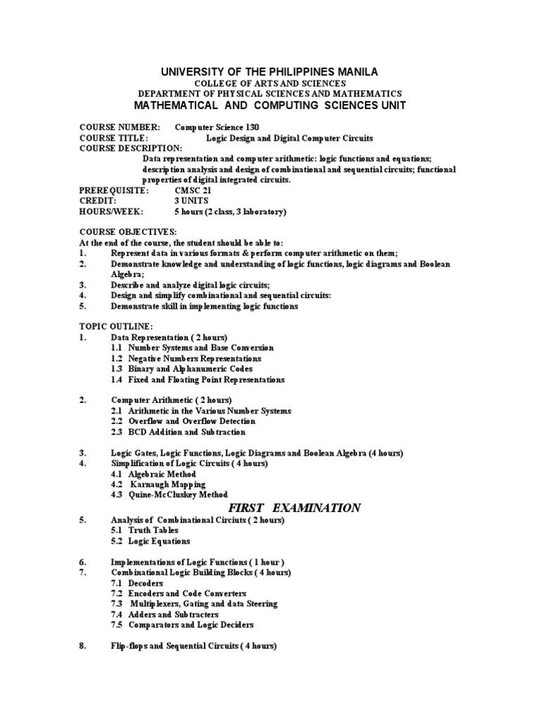 Cmsc 130 Syllabus Boolean Algebra Logic Synthesis Diagram Truth Table