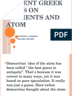 Ancient Greek Ideas on Elements and Atom