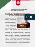 Discurso Del Doctor Víctor Ticona Postigo en Ceremonia de Incorporación Como Presidente Del Jurado Nacional de Elecciones