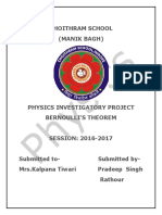 Physics Bernoulis Theorem Project CBSE Class 12