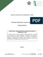 Codigo de Etica Del Servicio Nacional de Aprendizaje Sena