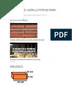 Calculo de Ladrillo Por m2 Para Muros