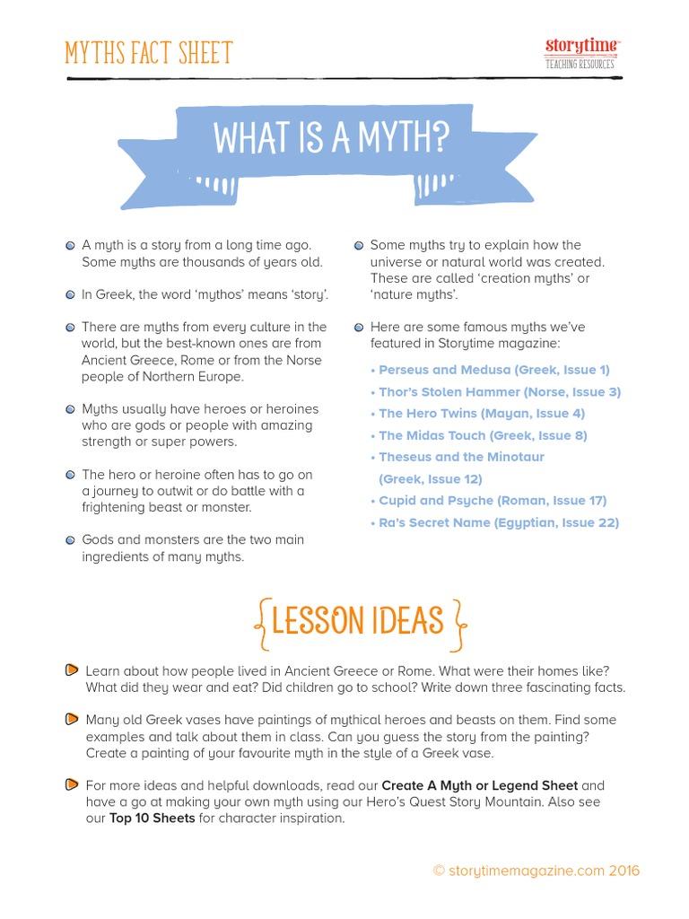 Storytime School Magazine Teaching Resources Myth Pack | Mythology