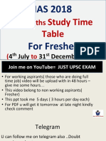 1st Time Table for Fresher 2018