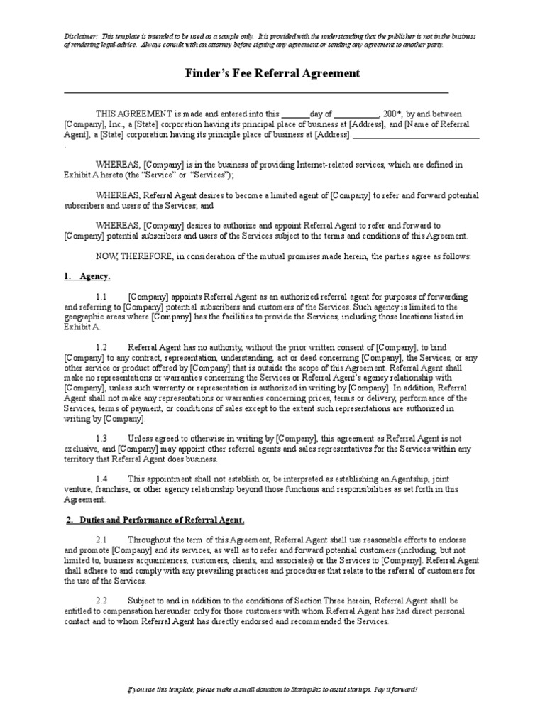 Finders Fee Referral Agreement Law Of Agency Disclaimer