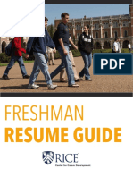 Freshman Resume Guide