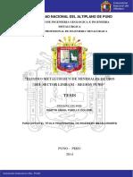 """Estudio Metalurgico de Minerales de Oro Del Sector Limbani - Puno"