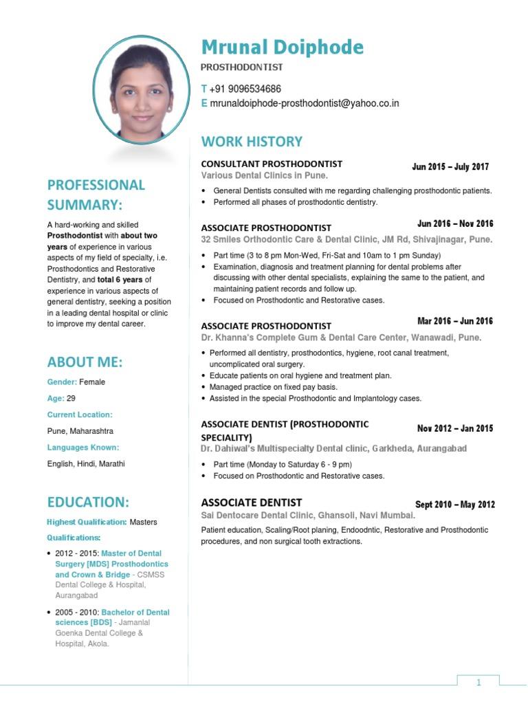 CV - Mrunal Doiphode July 2017 for Pune | Prosthodontics | Dentistry