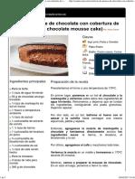Tarta de Mousse de Chocolate Con Cobertura de Chocolate