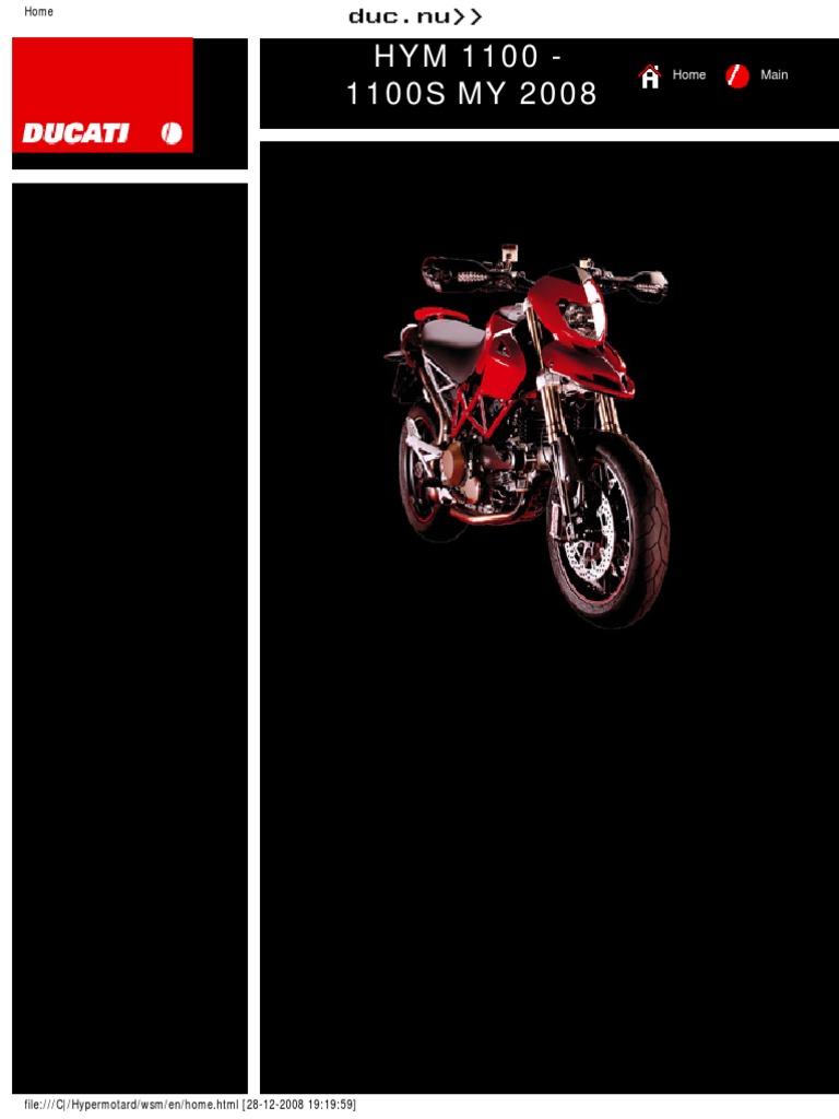 ducati hypermotard 1100 1100s 2008-2009 (english) pdf | transmission  (mechanics) | fuel injection