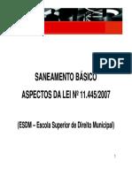 Saneamento Básico - Aspectos Da Lei 11445-2007