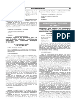 Ordenanza que modifica el Reglamento del Fondo Municipal de Inversiones de la Provincia de Cañete / FINVER - CAÑETE