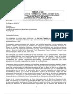 Carta Congreso Nacional sobre Ley Fomento Turismo