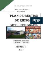 Plan de Gestión de Riesgo Mushit Secundaria Presentar