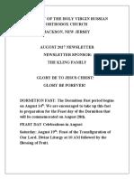Nativity of the Holy Virgin Church - Newsletter - August, 2017