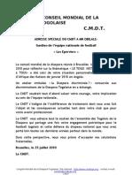 ADRESSE SPECIALE DU CMDT A MR OBILALE- Gardien de l'équipe nationale de football « Les Eperviers »
