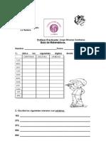 Guía de la carta, adición y escritura de números hasta el 600 y relieve
