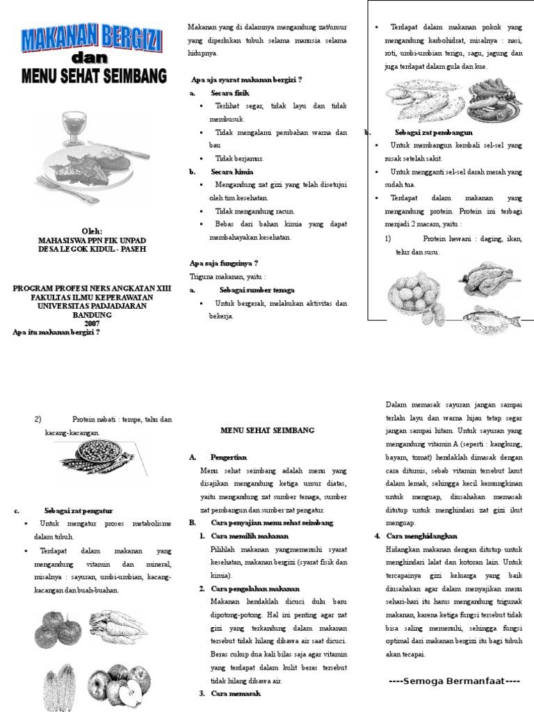 Leaflet Makanan Bergizi Dan Menu Seimbang Doc
