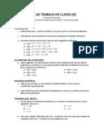 Guía de Trabajo en Clases II. Funciones Polinomiales II