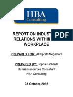 industrial relations report- sophie richards 2