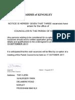 Parish Council Casual Vacancy Notice for Co-Option 2017