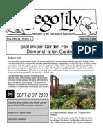 September-October 2003 Sego Lily Newsletter, Utah Native Plant Society